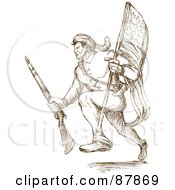 Royalty Free RF Clipart Illustration Of A Brown Sketch Of An American Revolutionary Soldier Running With A Flag