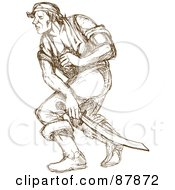 Royalty Free RF Clipart Illustration Of A Brown Sketched Pirate Swinging A Sword by patrimonio