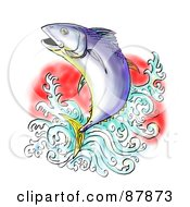 Royalty Free RF Clipart Illustration Of A Bluefin Tuna Leaping Out Of Water by patrimonio