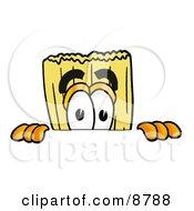 Broom Mascot Cartoon Character Peeking Over A Surface