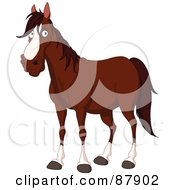 Royalty Free RF Clipart Illustration Of A Handsome Brown And White Horse