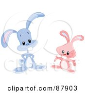 Royalty Free RF Clipart Illustration Of A Digital Collage Of Two Blue And Pink Bunny Rabbits With Buck Teeth by yayayoyo