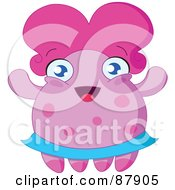 Royalty Free RF Clipart Illustration Of A Cute Pink Monster With A Blue Skirt And Big Hair by yayayoyo
