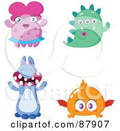 Royalty Free RF Clipart Illustration Of A Digital Collage Of Four Cute Monsters by yayayoyo