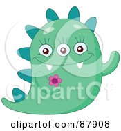 Cute Green Monster With A Spikes And A Flower