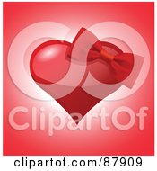 Royalty Free RF Clipart Illustration Of A Red Bow On A Shiny Red Heart Over Pink by yayayoyo
