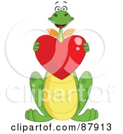 Royalty Free RF Clipart Illustration Of A Cute Green Dragon Holding A Shiny Red Heart by yayayoyo