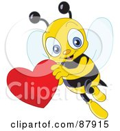 Royalty Free RF Clipart Illustration Of A Cute Bee Flying With A Red Heart by yayayoyo