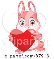 Royalty Free RF Clipart Illustration Of A Cute Pink Bunny Rabbit Holding A Red Heart