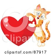 Royalty Free RF Clipart Illustration Of A Cute Ginger Cat Leaning On A Shiny Red Heart