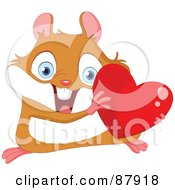 Cute Hamster Holding A Shiny Red Heart