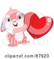Royalty Free RF Clipart Illustration Of A Cute Pink Bunny Rabbit Holding Up A Shiny Red Heart by yayayoyo