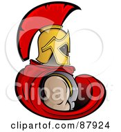 Royalty Free RF Clipart Illustration Of A Strong Trojan Warrior In A Red Cape And Golden Helmet by Paulo Resende