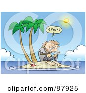 Royalty Free RF Clipart Illustration Of A Hot Sun Shining On A Shaggy Toon Guy Stranded On An Island
