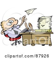 Royalty Free RF Clipart Illustration Of A Lazy Toon Guy Throwing A Paper Plane And Resting His Feet On His Desk At Work by gnurf