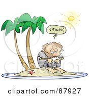 Royalty Free RF Clipart Illustration Of A Shaggy Toon Guy Sighing While Stranded On A Deserted Island