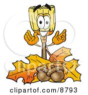 Broom Mascot Cartoon Character With Autumn Leaves And Acorns In The Fall
