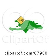 Royalty Free RF Clipart Illustration Of A Tremor Warning Sign On Haiti Island by oboy