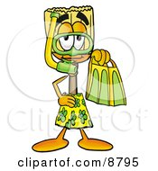 Clipart Picture Of A Broom Mascot Cartoon Character In Green And Yellow Snorkel Gear