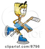 Broom Mascot Cartoon Character Playing Ice Hockey