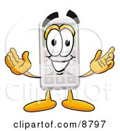 Clipart Picture Of A Calculator Mascot Cartoon Character With Welcoming Open Arms