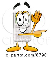 Clipart Picture Of A Calculator Mascot Cartoon Character Waving And Pointing