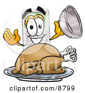 Clipart Picture Of A Calculator Mascot Cartoon Character Serving A Thanksgiving Turkey On A Platter by Toons4Biz