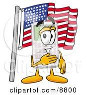 Calculator Mascot Cartoon Character Pledging Allegiance To An American Flag