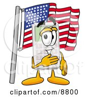 Clipart Picture Of A Calculator Mascot Cartoon Character Pledging Allegiance To An American Flag by Toons4Biz