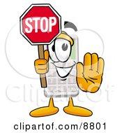 Calculator Mascot Cartoon Character Holding A Stop Sign