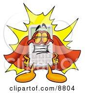 Calculator Mascot Cartoon Character Dressed As A Super Hero