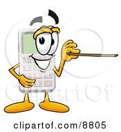 Calculator Mascot Cartoon Character Holding A Pointer Stick