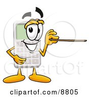 Clipart Picture Of A Calculator Mascot Cartoon Character Holding A Pointer Stick