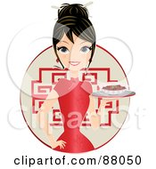 Beautiful Woman In A Cheongsam Dress Serving Food