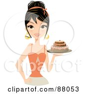 Royalty Free RF Clipart Illustration Of A Gorgeous Brunette Woman Holding A Tiered Birthday Cake In Hand