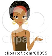 Royalty Free RF Clipart Illustration Of A Stunning Black Woman Presenting With One Hand by Melisende Vector #COLLC88055-0068