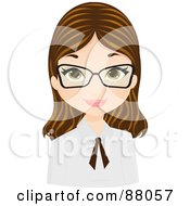 Royalty Free RF Clipart Illustration Of A Brunette Girl Wearing Glasses And A Tie On Her Collar