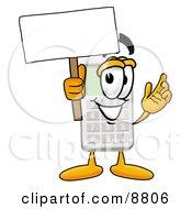 Calculator Mascot Cartoon Character Holding A Blank Sign