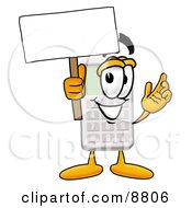 Clipart Picture Of A Calculator Mascot Cartoon Character Holding A Blank Sign by Toons4Biz