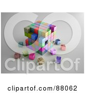 Royalty Free RF Clipart Illustration Of A 3d Puzzle Cube Of Colorful Boxes Crumbling by Mopic