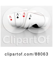 Royalty Free RF Clipart Illustration Of A Four Of A Kind Hand Of Ace Playing Cards by KJ Pargeter