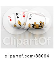 Royalty Free RF Clipart Illustration Of A Four Of A Kind Hand Of King Playing Cards by KJ Pargeter