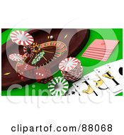 Royalty Free RF Clipart Illustration Of A 3d Casino Scene Of A Roulette Wheel Dice Cards And Poker Chips by KJ Pargeter