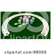 Royalty Free RF Clipart Illustration Of A 3d Half Circle Of Playing Cards Around Poker Chips by KJ Pargeter