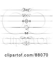 Royalty Free RF Clipart Illustration Of A Digital Collage Of Seven Decorative Black And White Website Divider Headers by KJ Pargeter