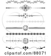 Royalty Free RF Clipart Illustration Of A Digital Collage Of Eight Decorative Black And White Website Divider Headers by KJ Pargeter