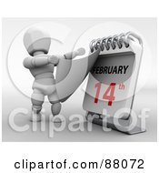 Royalty Free RF Clipart Illustration Of A 3d White Character Revealing Valentines Day On A Desk Calendar