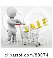 Royalty Free RF Clipart Illustration Of A 3d White Character Pushing A Golden Sale In A Shopping Cart by KJ Pargeter