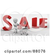 Royalty Free RF Clipart Illustration Of A 3d White Character And Shopping Cart In Front Of SALE