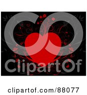 Royalty Free RF Clipart Illustration Of A Red Floral Heart Over Black